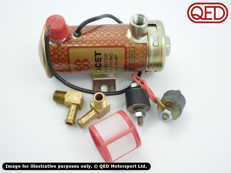 lotus twin cam fuel pump kit silver red top qed motorsport twin. Black Bedroom Furniture Sets. Home Design Ideas