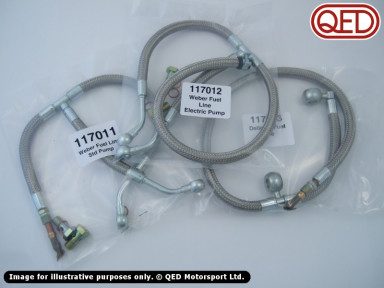 Braided stainless steel fuel line, various types
